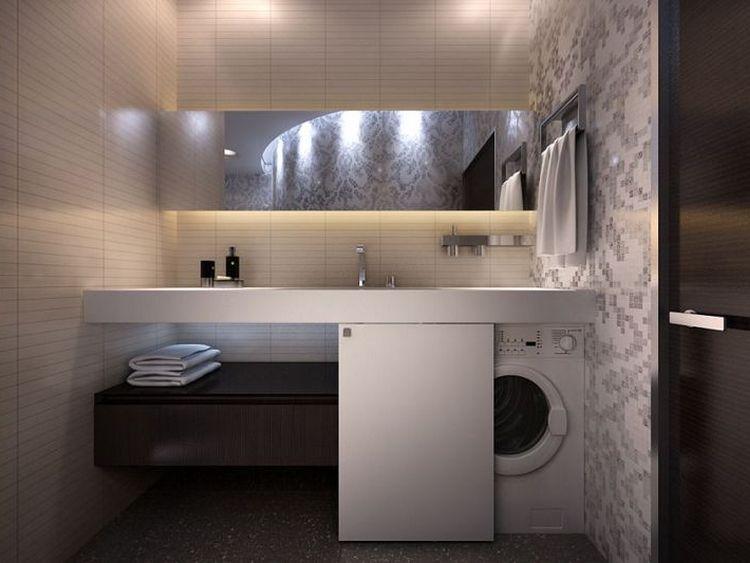 СМА удобно встроенная в мебель ванной