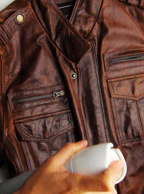 Протертая кожаная куртка
