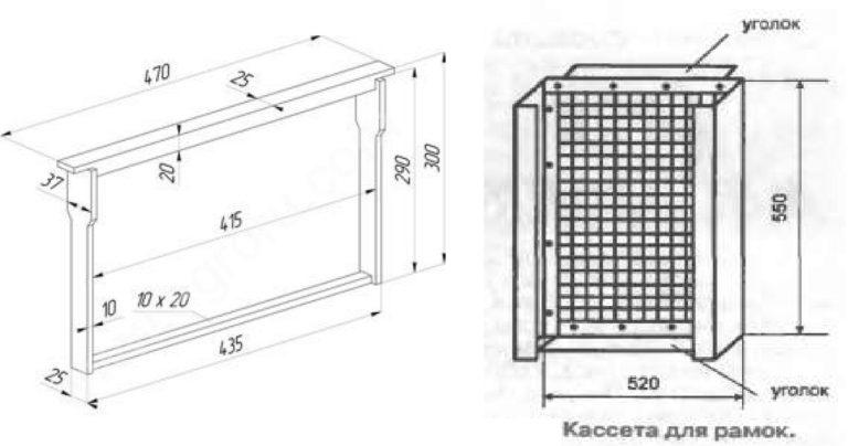 Размеры и строение кассеты медогонки
