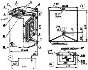 Схема строения медогонки с ручным приводом