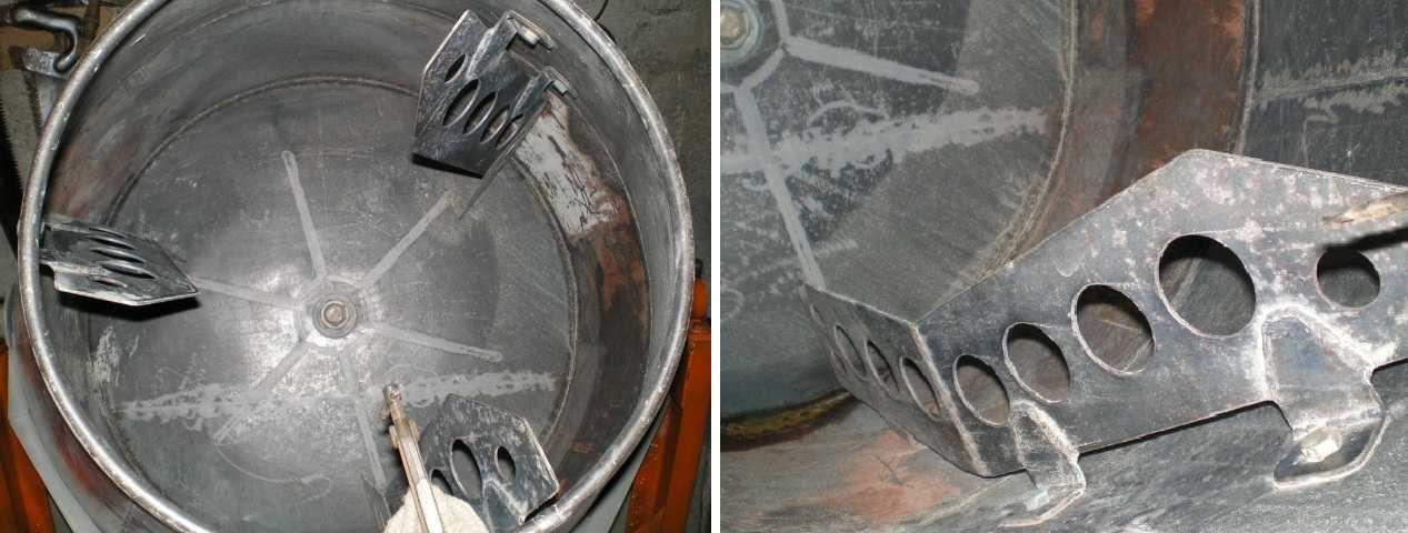 Емкость бетономешалки с мешалками