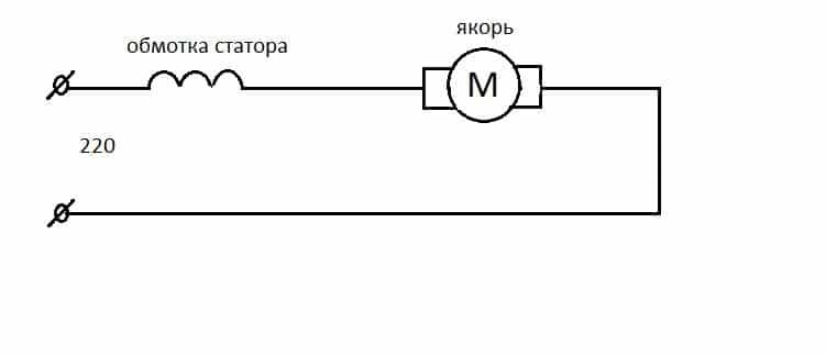 Схема подключения с якорем и обмоткой