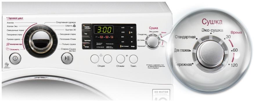 Панель управления стирально-сушильной машиной
