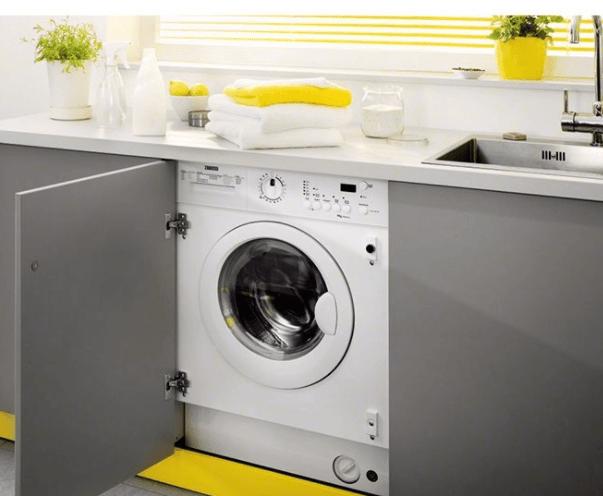 Компактная стиральная машина встроенная в интерьер