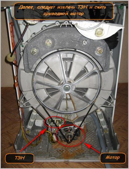 Схема извлечение ТЭНа и приводного мотора