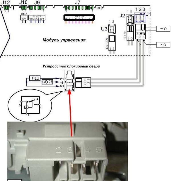 Электросхема устройства блокировки люка