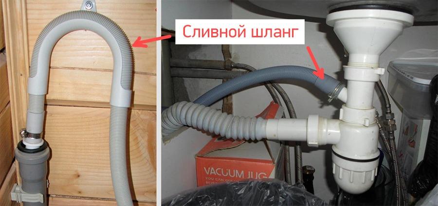 Подсоединение сливного шланга СМА