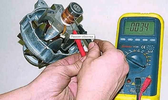 Тестирование ламелей электродвигателя СМА мультиметром