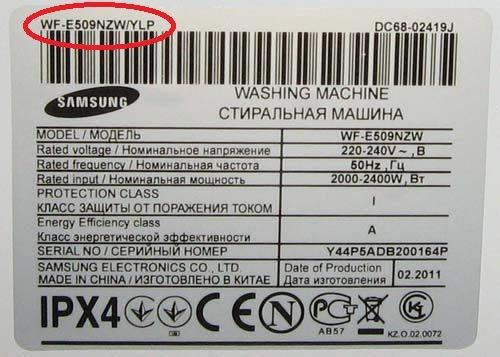Указание модели стиральной машины на наклейке изготовителя