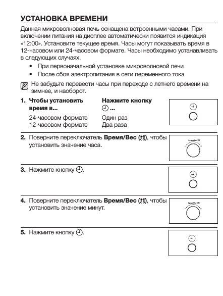 Инструкция по установке отображения времени на панели СВЧ