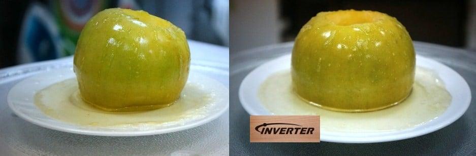Результат запекания яблок в разных типах СВЧ