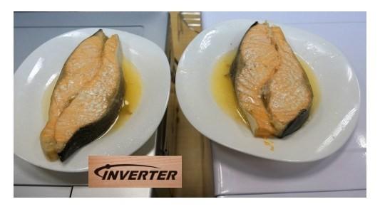 Приготовленный стейк лосося в обычной и инверторной СВЧ